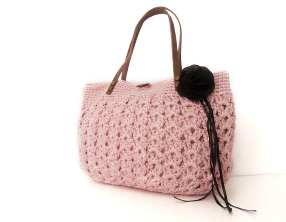 pink  summer bag- Handbag Celebrity Style With Genuine Leather Straps / Handles shoulder bag-crochet bag-hand made