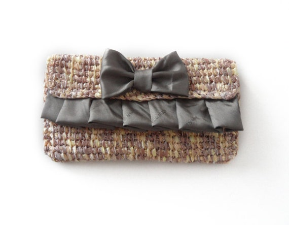 Taupe Clutch with satin bow and ruffles with removable light-wheight chain