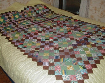 Vintage Handsewn Quilt, Yellow and Earth Tones