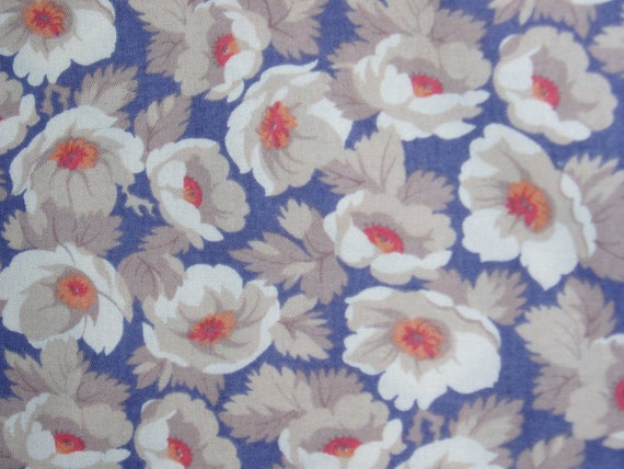 Vintage French Fabric, Boussac Style Floral, Cotton/Viscose, Nearly 4 Yards