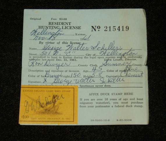 Kansas hunting license 1961 with kansas by for Ks fishing license