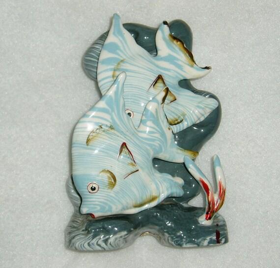 Figurine Vase, Angel Fish, Ceramic, 1960's Enesco