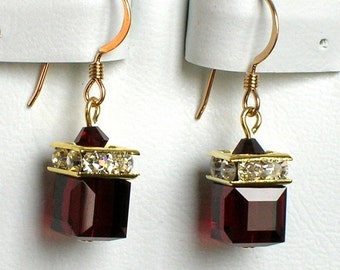 Garnet (January) Swarovski Birthstone Earrings in Gold - ALL MONTHS AVAILABLE
