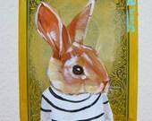 "Rabbit Portrait N59. ACEO's card 2.5""x3.5"" original acrylic painting. 2011"