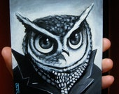 Self Portrait as The Great Horned Owl. Acrylic painting on panel. 2011