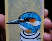 "Common Kingfisher Portrait N1. ACEO's card 2.5""x3.5"" original acrylic painting. 2012"
