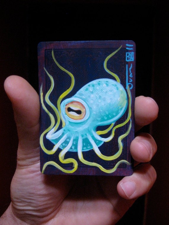 """Octopus N14. ACEO's card 2.5""""x3.5"""" original acrylic painting. 2011"""