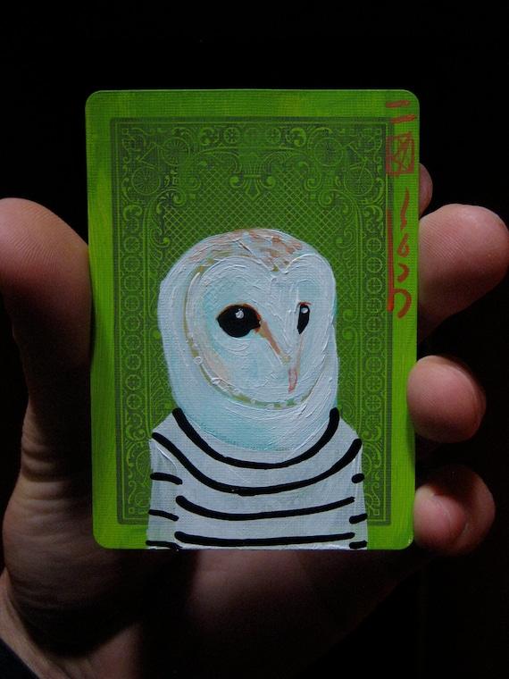 "Barn Owl Portrait N29. ACEO's card 2.5""x3.5"" original acrylic painting. 2011"
