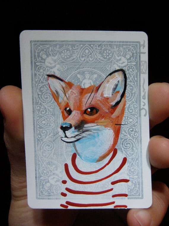 """Red Fox Portrait N59. ACEO's card 2.5""""x3.5"""" original acrylic painting. 2012"""