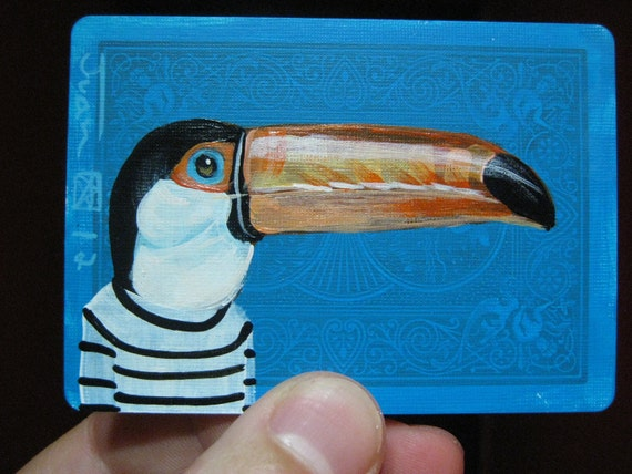 Toucan Portrait N15. on a playing cards. Original acrylic painting. 2012
