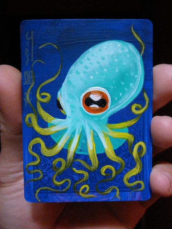 Octopus N19 on a playing cards. Original acrylic painting. 2012