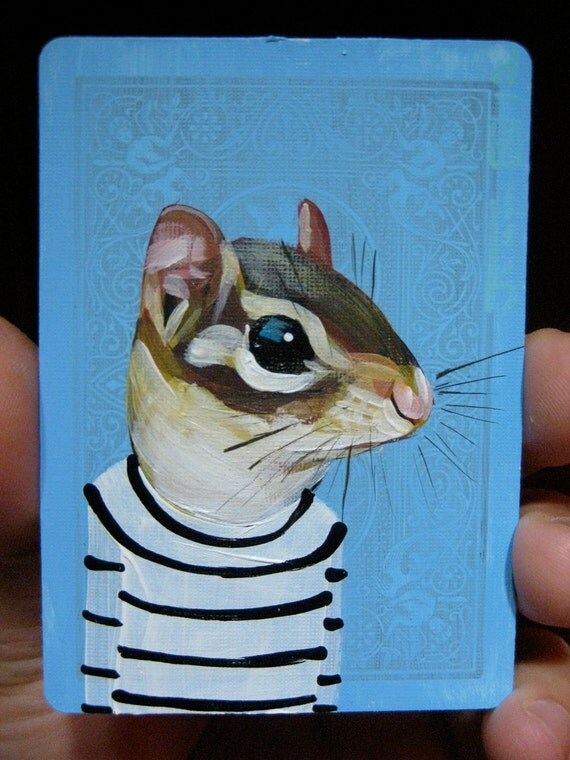 Chipmunk Portrait N11 on a playing cards. Original acrylic painting. 2012