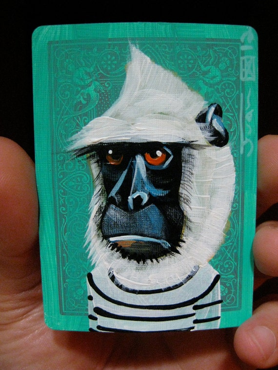 Common Langur Portrait N6 on a playing cards. Original acrylic painting. 2012