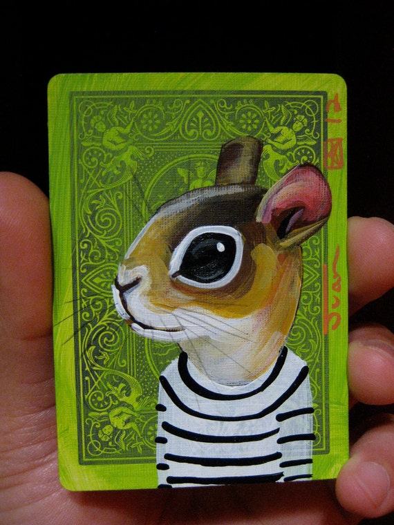Squirrel portrait N7 on a playing cards. Original acrylic painting. 2012