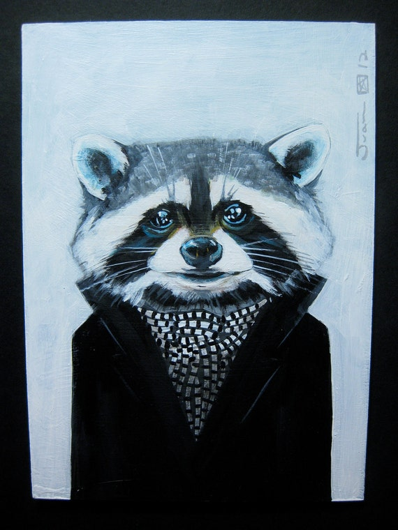 Self Portrait as The Raccoon. Original Acrylic painting on panel. 2012