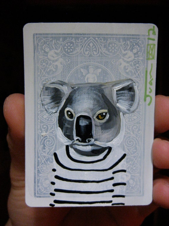 Koala portrait N4 on a playing cards. Original acrylic painting. 2012
