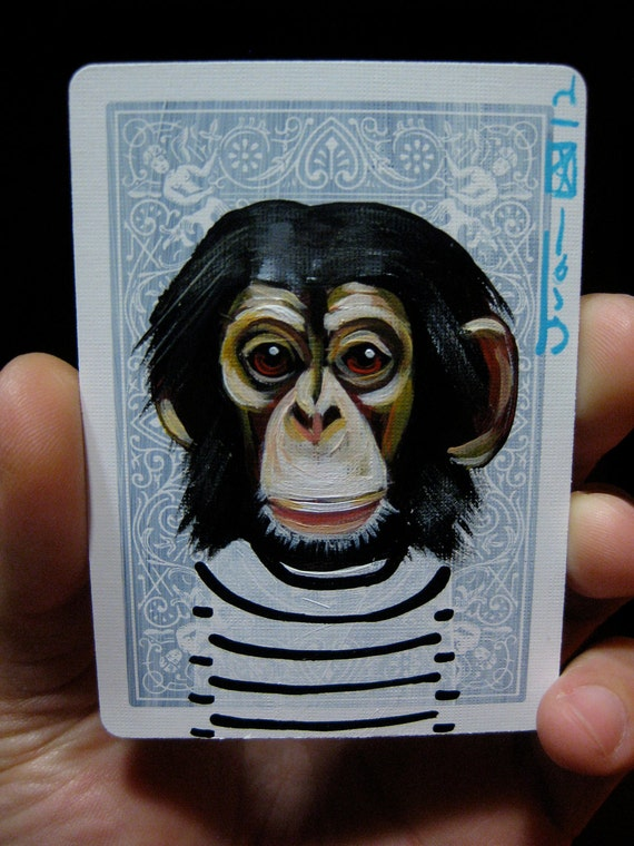Chimpanzee portrait N13 on a playing cards. Original acrylic painting. 2012