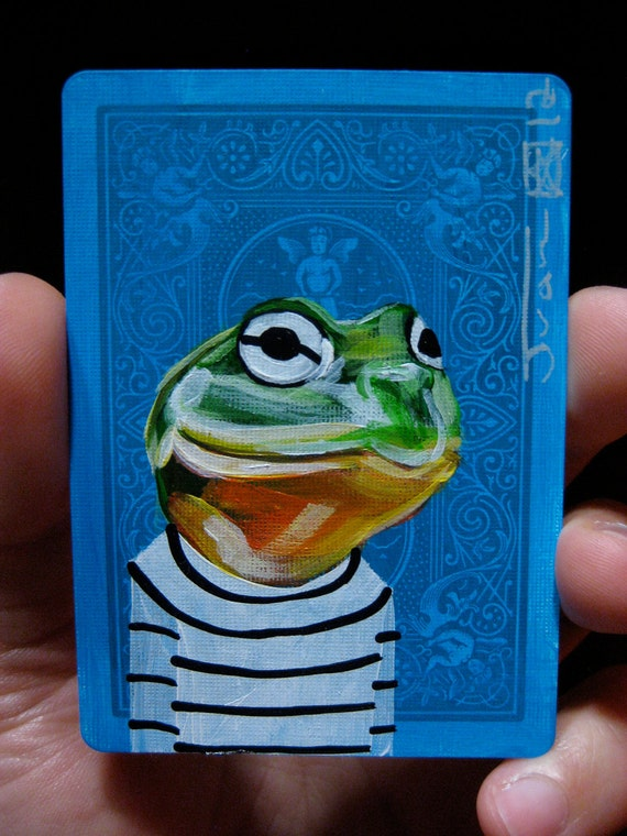 African Bullfrog Portrait N2 on a playing cards. Original acrylic painting. 2012