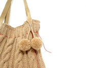 Knit Tote Handbag - wool cable knit with genuine beige suede leather