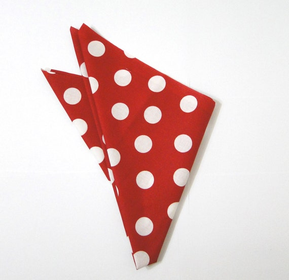 A touch of vintage 1960 red and white polka dots cotton scarf