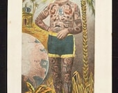 "Vintage postcard ""L' Homme Tatoue"" Tattoo Man exotic c.1900"