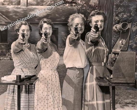 RESERVED Vintage Photo of Women shooting Guns / Police / Pistol / Revolver / 50s