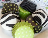Black and Lime Green Cupcake Liner Combo Pack  5 styles (100) - BakersBlingShop
