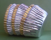 100 Gold or Silver Foil Cupcake Liners, Gold and Silver Wedding Cupcake Liners, Professional Grade, Greaseproof