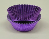 50 Purple Foil Cupcake Liners, Purple Foil Baking Cups - Professional Grade and Greaseproof