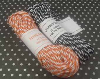 Happy Halloween Bunches Sampler Pack of Baker's Twine (30 yards total, 15 yards of each color)