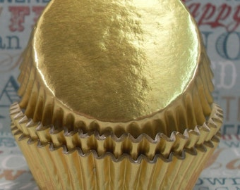 100 Gold Foil Cupcake Liners,  Gold Foil Baking Cups - Professional Grade and Greaseproof
