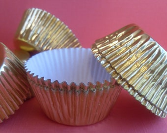 100 Mini Gold Foil Cupcake Liners, Baking Cups, Cake Pops Cups, Candy Cups