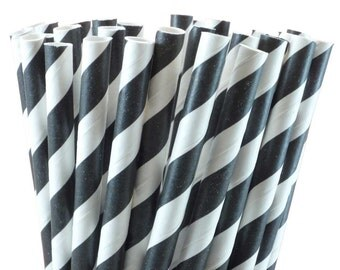 Black Striped Paper Drinking Straws with Printable DIY Flags - 50 count