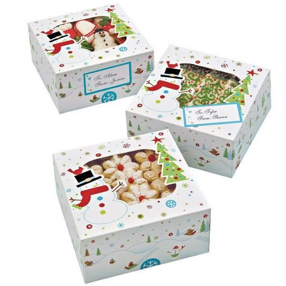 Christmas Snowman Cookie Boxes With Labels And Box Seals Set