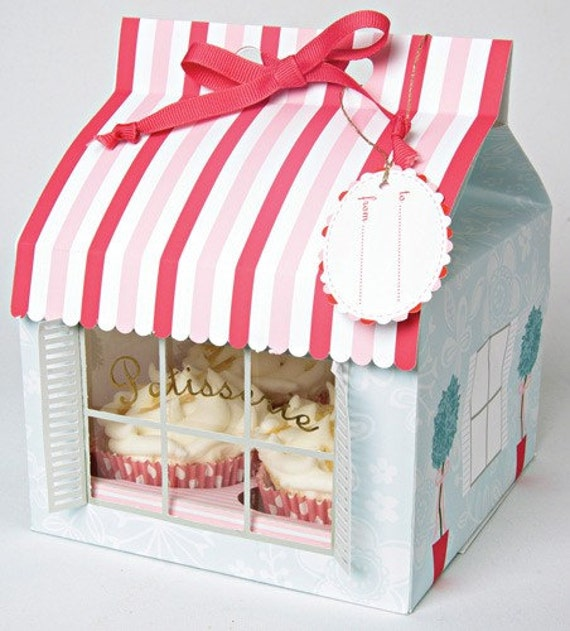 Patisserie Striped Cupcake, Baking Cup, Treat Boxes with Ribbon Gift Tag - Set of (3) Large Boxes