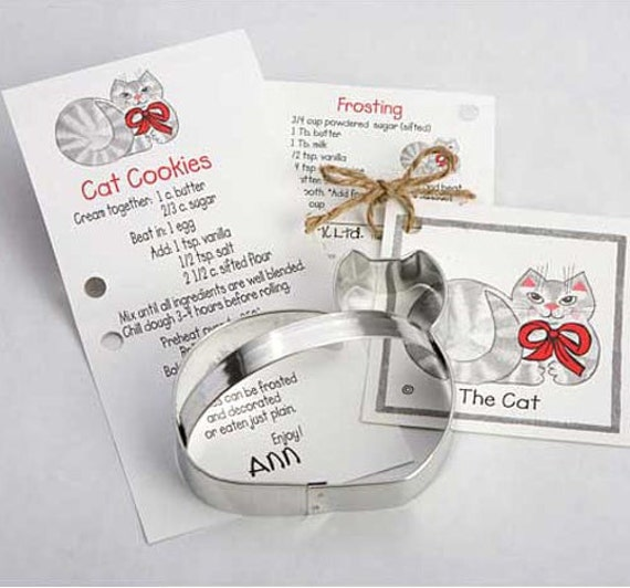 Kitty Cat Cookie Cutter with Ribbon Recipe Card, Professional Grade - Made in the USA