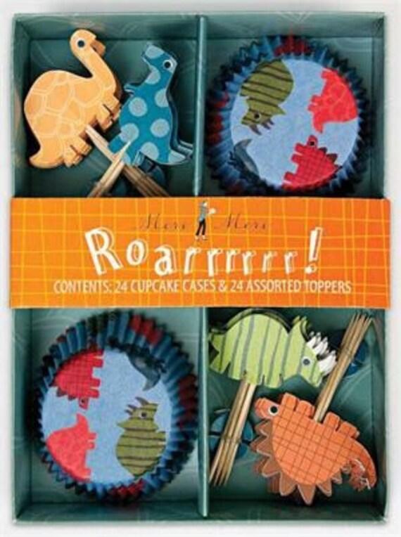 Dinosaur Cupcake Kit, Cupcake Liners, Baking Cups, Cupcake Toppers -  (24 Cupcakes)