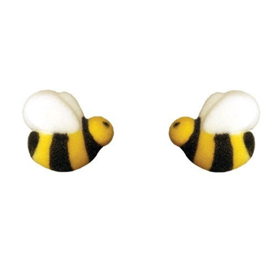 48 Bumble Bee Edible Sugar Decorations for Cupcake and Cake Decorating