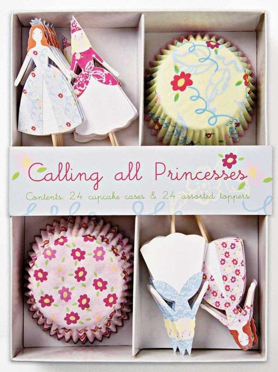 Princess Cupcake Kit - Cupcake liners, Baking Cups, Princess Toppers - (24 Cupcakes)