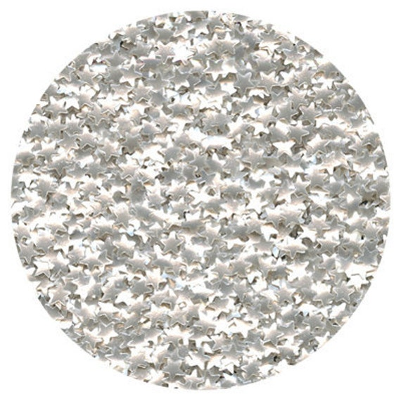 Edible silver star glitter sprinkles for decorating cupcakes