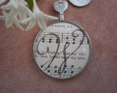 Vintage Calligraphy Monogram Pendant in Antique Lens with Mother of Pearl Button