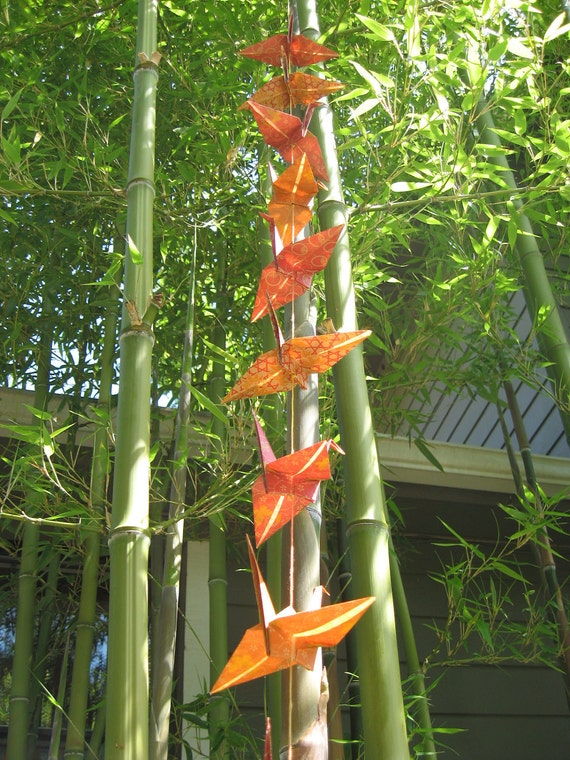 Origami Crane Garland, Orange and Red for decoration, Garden Party or Wedding