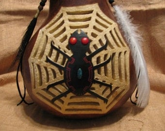 Grandmother Spider Gourd Vessel , Spider Totem , Spider Art , Totem Art , Animal Totem , Gourd Art , Carved Vessel , Pyrography Art , Vessel