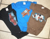 set of three animal appliqued onesies for baby size 3 months-ready to ship
