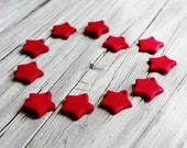 Red Star Charms - set of 6