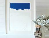 Fresh tracks, dark blue sky, hand pulled screen print, limited edition