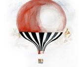 Hot air balloon Watercolor painting Original artwork Fine Art Modern, contemporary Art 13 x 19 wall art decor