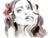 Original Watercolor Painting 13x19 artwork woman fashion illustration home wall decor wall art contemporary modern love fine art portrait