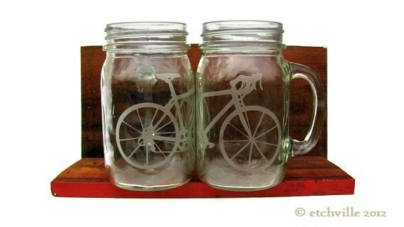 Bicycle mason jar mug with handle- 1 glass