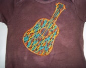 Appliqued Guitar Onesie, 12 months or 20 to 24 lbs